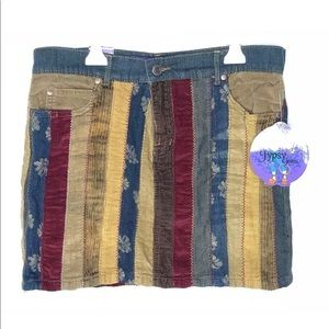 Jypsy Jeans PatchWork Stretch Denim Corduroy Skirt